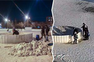 В ледовом городке Коркино строители восстанавливают фигуру